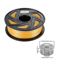 Clonebox Filament PLA 3D 1.75mm 1kg, precision +/- 0.05mm, Gold