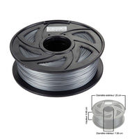 Clonebox Filament PLA 3D 1.75mm 1kg, precision +/- 0.05mm, Silver