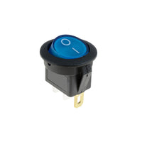 Round rocker switch 10A blue lamp 12vdc