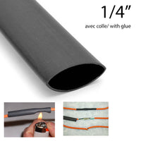 "Globaltone Heat Shrink With Glue 1/4"" (4') - Black (01046)"