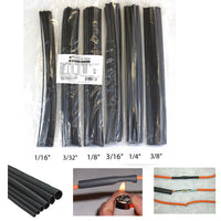 "Globaltone 120 Heat Shrink Tubing Mixed Kit 11"" - Black (01887)"
