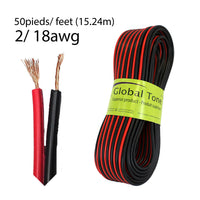 Speaker Wire 2C/18 AWG (50'/15.24m) - Red/Black (00971)