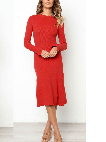 Long Sleeve Solid Crew Neck Dress