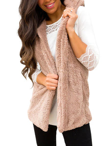 Fuzzy Cashmere Sleeveless Solid Women's Warm Vests With Hoodie