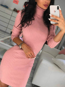 Long Sleeve Knitted Solid Casual Dress