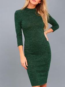 Round Neck 3/4 Sleeve Plain Dress