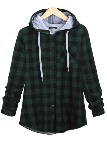 heckered/plaid Long Sleeve Hoodie Cotton-Blend