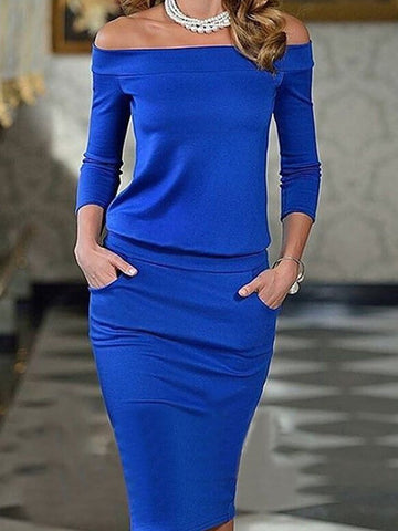 3/4 Sleeve Solid Paneled Off Shoulder Elegant Bodycon Midi Dress