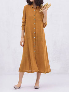 Shirt Collar Women Casual Dresses Shift Casual Plain Dresses