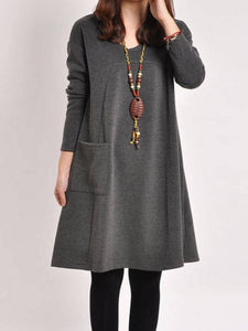 Long Sleeve Pockets Dress