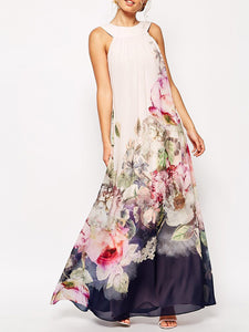 Multicolor Crew Neck Casual Sleeveless Printed Floral Maxi Holiday Dress