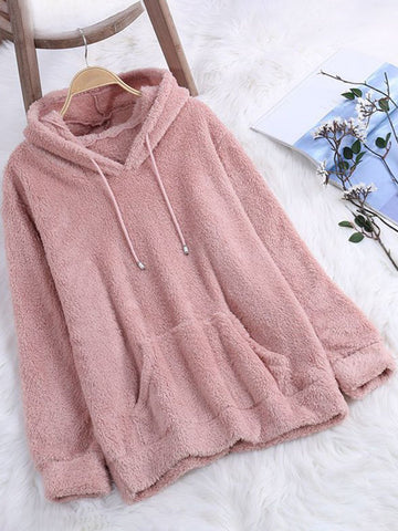 Cozy Warm Long Sleeve Pockets Solid Teedy Bear Hoodies