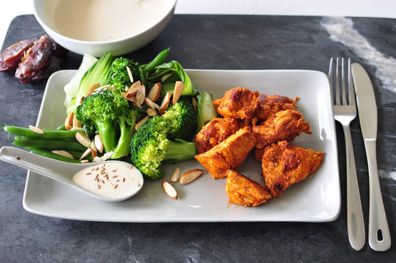 Steamed Greens with Cashews & Tahini Dressing - Tandoori Chicken