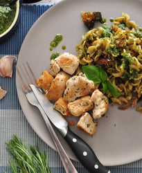 LARGE Wholemeal Pasta, Sweet Veg, Walnuts & Pesto - Grilled Herbed Chicken