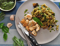 Wholemeal Pasta, Sweet Veg, Walnuts & Pesto - Grilled Herbed Chicken