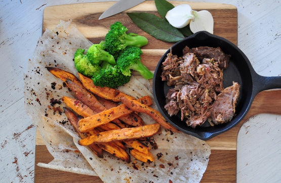 Roasted Sweet Potatoes & Broccoli - Slow Cooked Asado Beef