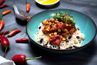 VEG South American Baked Beans with Basmati-Black Beans Pilaf & Guacamole