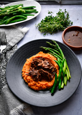 BBQ Beef Our Way with Rustic Sweet Potato Mash & Broccolini