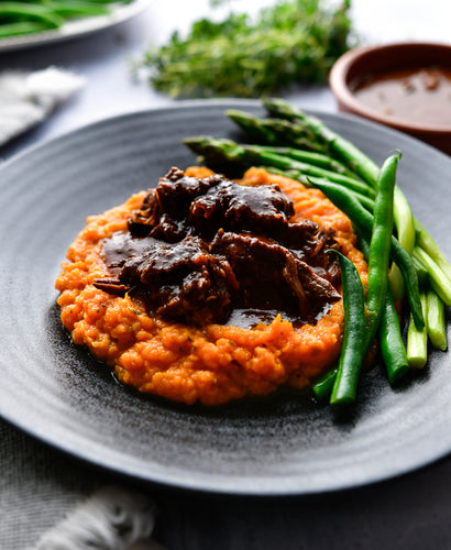 BBQ Beef Our Way with Rustic Sweet Potato Mash & Asparagus