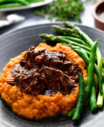 BBQ Beef Our Way with Rustic Sweet Potato Mash, Asparagus & Beans