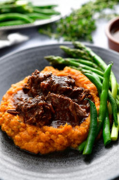 BBQ Beef Our Way with Rustic Sweet Potato Mash & Green Beans