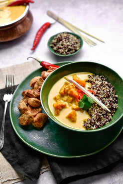 Fragrant Pumpkin Curry, Quinoa & Black Rice - Spicy Grilled Chicken