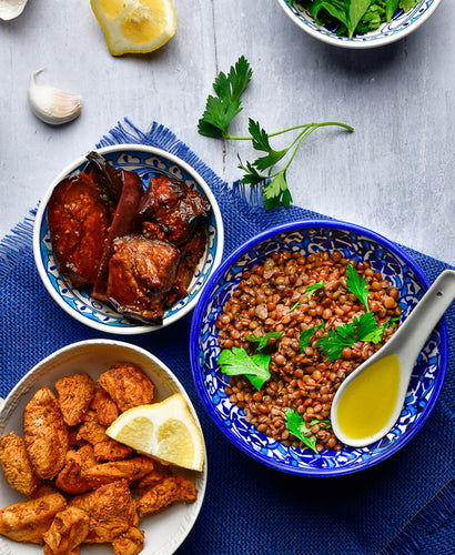 LARGE Moroccan Lentil & Eggplant Delight - Harissa Spiced Chicken