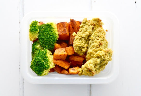 VEG MINI MEAL Italian Roasted Sweet Potatoes & Broccoli - Quinoa Falafels