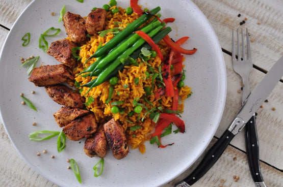 PE Style Veggie Paella with Peri Peri Chicken