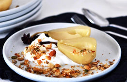 BREAKFAST Chai Poached Pears, Natural Coconut Yoghurt & Toasted Granola