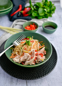 Thai Style Ginger & Veg Quinoa with Coconut-Chilli Poached Chicken