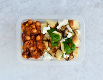 VEG Roasted Potatoes Provenzal & Goat Cheese  with South American Style Baked Beans