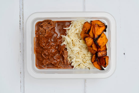 Texas Slow-Cooked Beef with Basmati Pilaf & Pumpkin