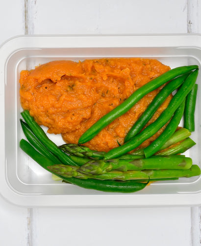 SIDE Rustic Sweet Potato Mash with Steamed Broccolini