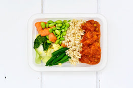 VEG Lemongrass Basmati Rice, Carrots & Asian Greens - Organic Tempeh & Mung Bean Stew