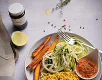 VEG MINI MEAL Zucchini Spag, Sun Dried Tomato Pesto & S.Potato – Organic Tofu Scramble