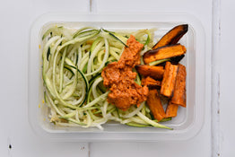 SIDE Zucchini Spaghetti, Sun Dried Tomato Pesto & Roasted Sweet Potato