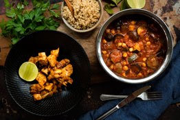 Indian Style Veggie & Chickpea Curry, Brown Rice with Tandoori Chicken