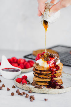 BREAKFAST Choco Chips Almond&Coconut Protein Pancakes with Organic Vanilla Yoghurt & Raspberries