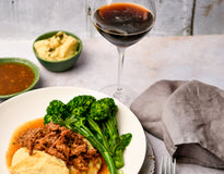 Slow Cooked Gravy Beef with Potato Mash & Broccolini