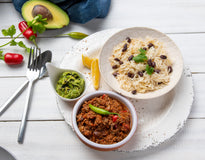 LARGE Chilli con Carne with Basmati-Black Beans Pilaf & Guacamole