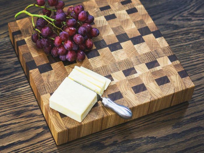Square cutting board with charcuterie