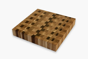 hand crafted square cutting board made of white oak and walnut end grains