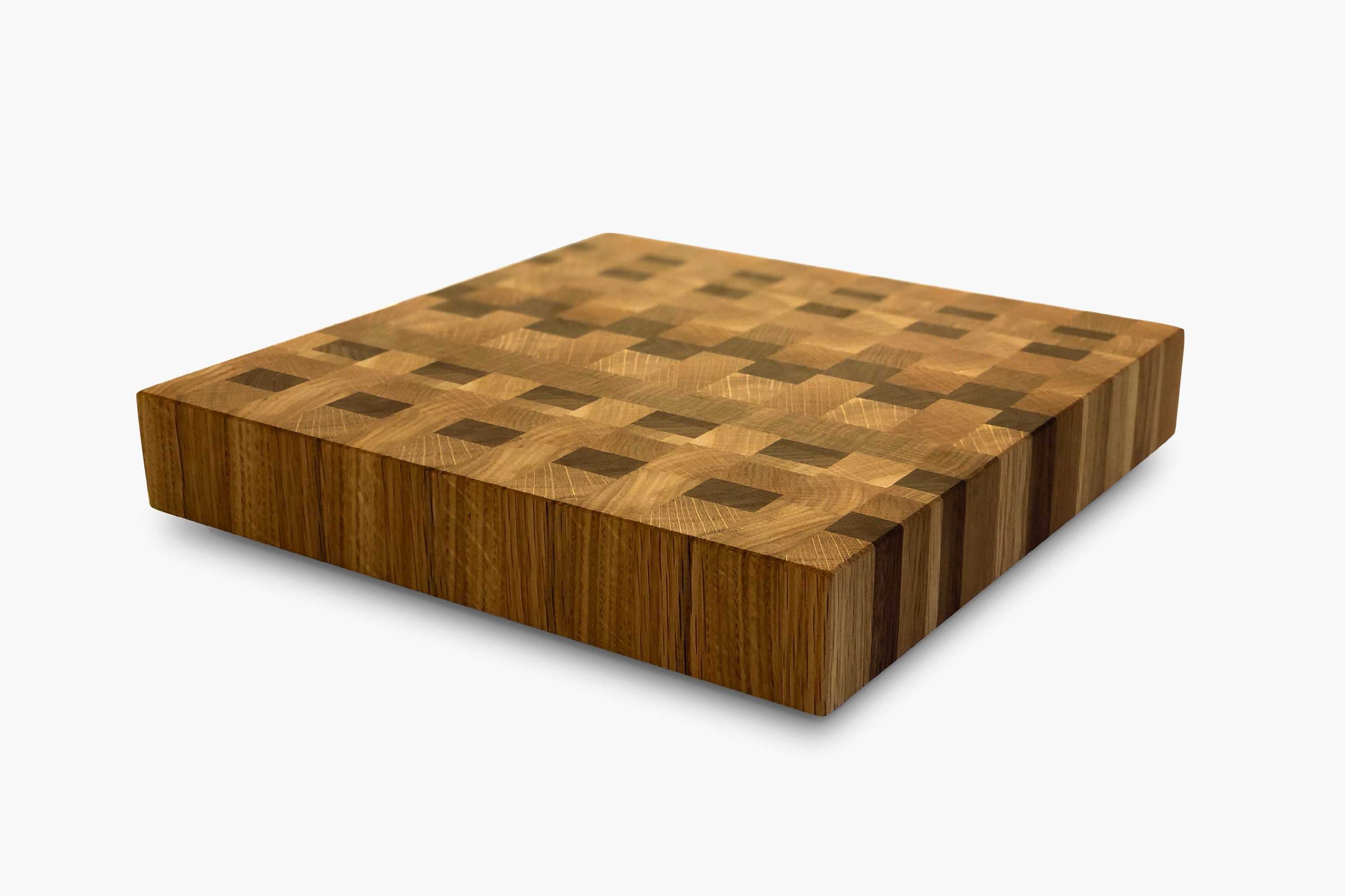 hand crafted square cutting board made of white oak and walnut end grains alternate angle