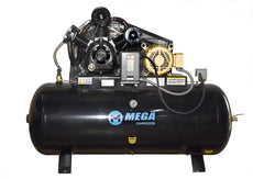 MEGA MP-10120H3 Horizontal Electric air Compressor 3 PHASE / 10 HP / 120 GAL.