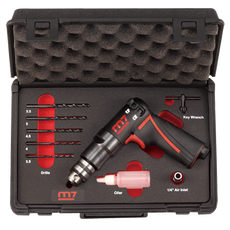 Mighty Seven M7 QE-323N - 1/4 in Reversible Mini Air Drill Set, 0.25Hp 5 Drill Bits