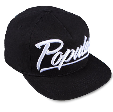 Popular Script Snapback / Black & White