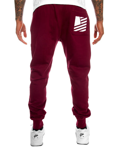Popular Script Joggers / Burgundy & White