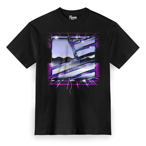 Retro Future Square Flag Tee / Black