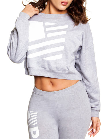 Square Flag Crop Pullover / Heather